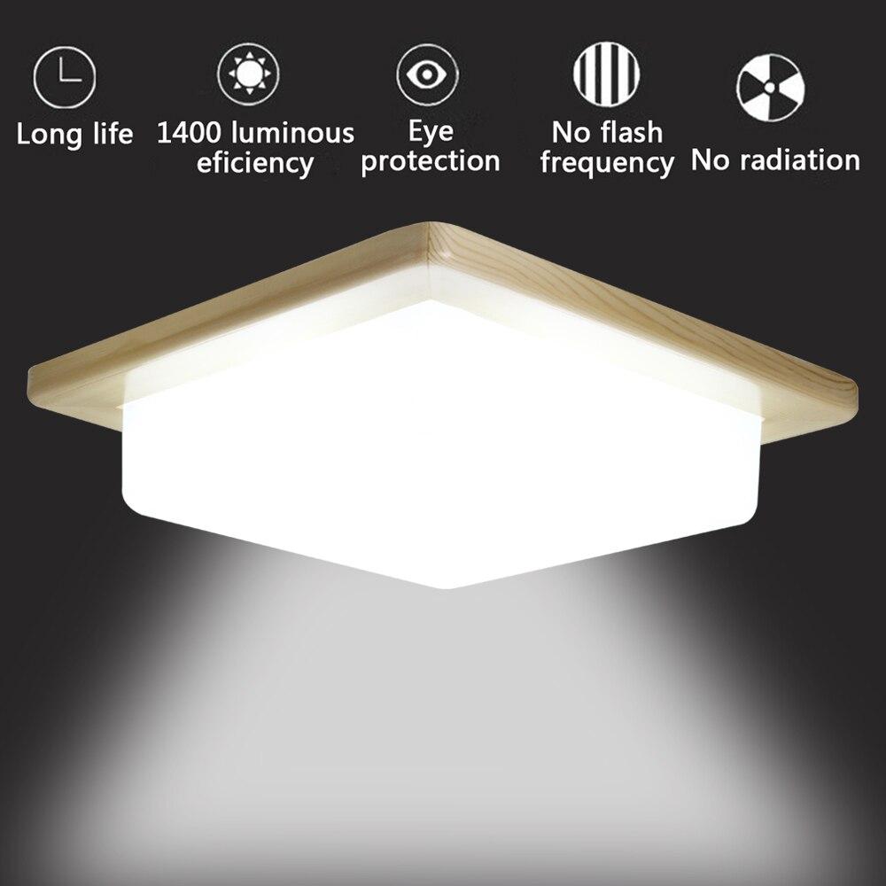 16W Wood Square Energy Efficient LED Ceiling Light 1000lm 5000K Natrual White Lighting Fixture For Kitchen Bathroom Dining Room energy efficient architecture