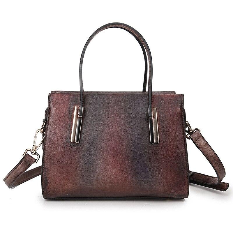Vintage Brush Color Women's Handbag Genuine Leather Small Mini Shoulder Sling Bag Casual Tote Messenger Bag LS-A80006 los iconos rusos