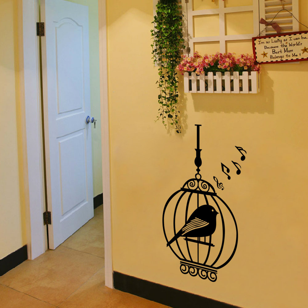 Brand new Europe style Animals Theme bird cage 3d wall stickers ...