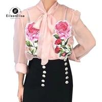Floral Blouse Women Summer 2018 Long Sleeve Blouses See Through Vestidos Luxury Bow Tie Neck Pink Blouses Elegant Femme