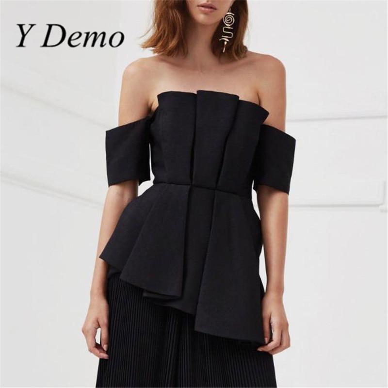 Y Demo Fashion New Slash Neck Asymmetrical Tops Womens Summer Black Chiffon Shirt