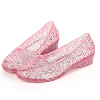 Fashion Crystal Plastic Breathable Low Heels Women S Sandals Jelly Ladies New