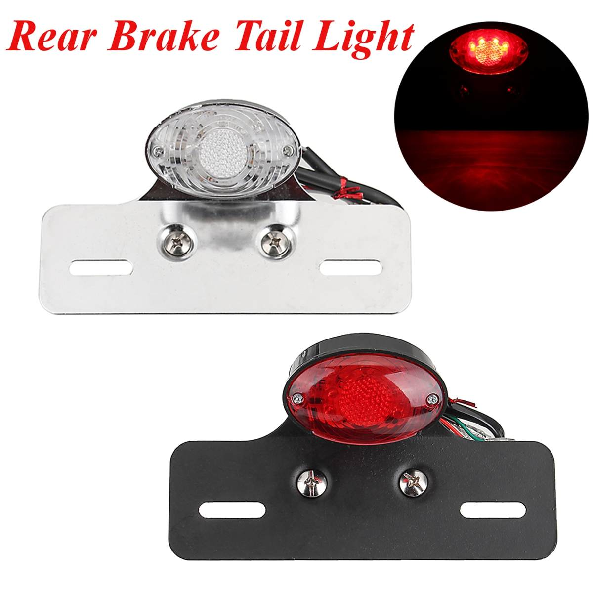ABS y Metal Negro Larga vida Bajo consumo Luz LED trasera de motocicleta Luz trasera Luz de freno