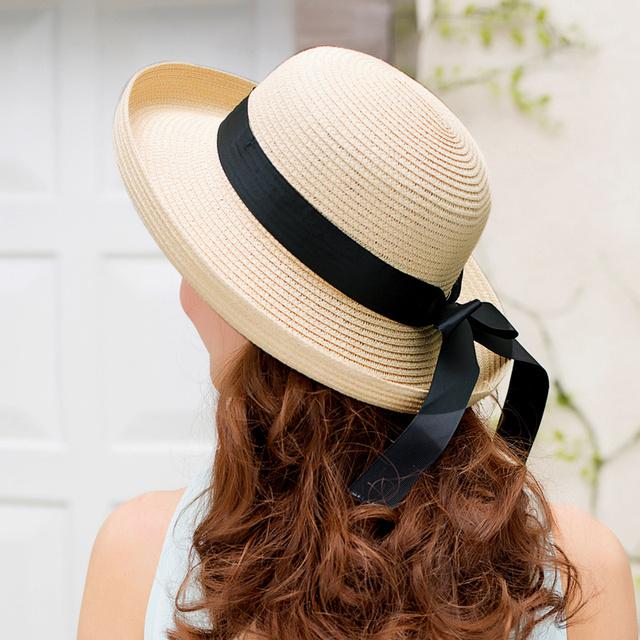 2016 New Lady mulheres dobrado grande sol aba do chapéu de palha chapéu de sol de verão Cap chapéu de viagem de 6 cores B-2276