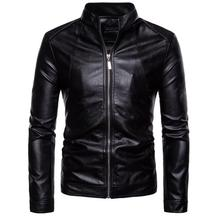 Business motorcycle leather jacket men loose stand collar casual clothes mens jackets and coats biker black fashion