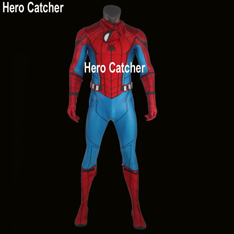 Hero Catcher Best Quality 2017 Spiderman Costume Homecoming Spider-Man Puff Printed Spandex Lycra Costume Set Tom Spiderman Suit
