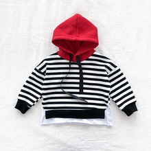 baby boy clothes Spring 2019 New Stripe Fake Two Long Sleeve Clothes in Korean Edition