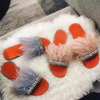 2018 New Arrival Crystal Feather Embellished Slippers Beach Vocation Summer Dress Shoes Flat Slides Women Sandals Wholesale