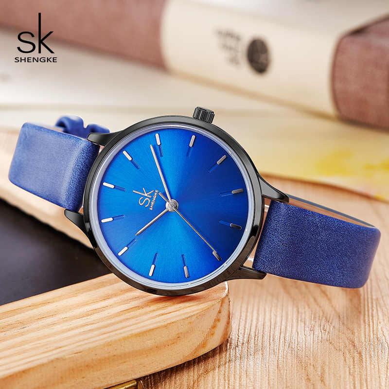 Shengke ブランドファッション腕時計女性カジュアルレザーストラップ女性クォーツ時計リロイ Mujer 2019 SK 女性腕時計 # K8025