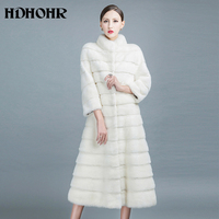 HDHOHR 2017 New Winter Natural Min Fur Coats Long With Skirt Women Real White Mink Coats Fashion Slim Warm Fur Jackets Feamle