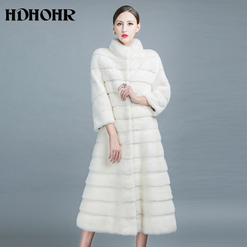 HDHOHR 2019 High Quality Natural Mink Fur Coats Long With Skirt Women Winter Real White Mink Coats Slim Warm Fur Jackets Feamle