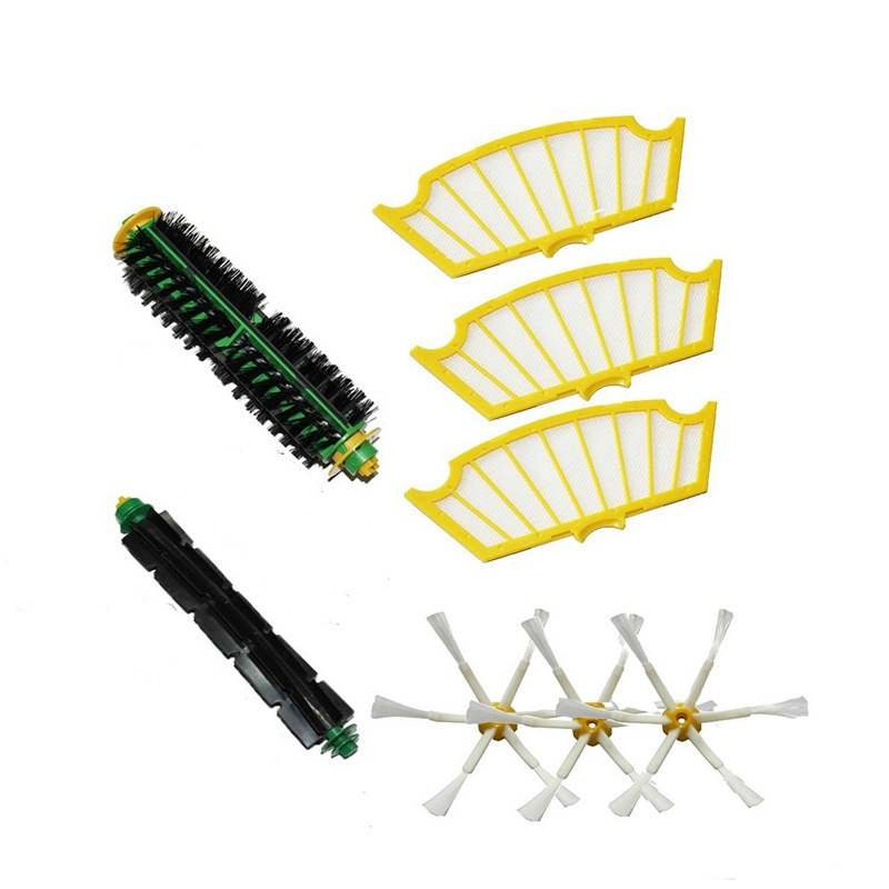 8pcs Bristle Flexible Beater Brush 6-armed Side Brush hepa filter For iRobot Roomba 500 Series Vacuum Cleaner parts Replacement 3pc brush replacement mini kit 6 armed for irobot roomba 500 series free shipping