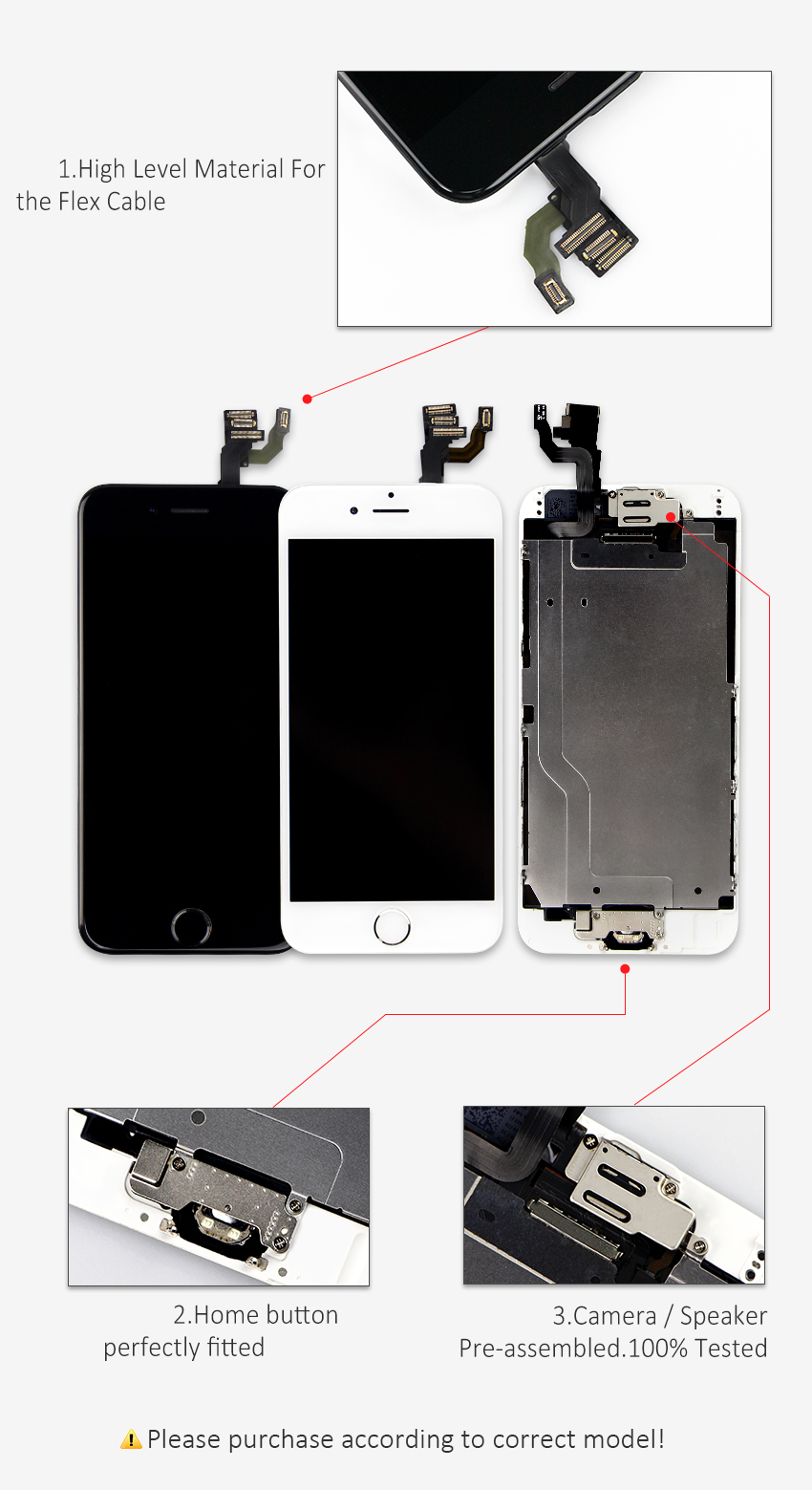 AAA+++ For iPhone 6 6S Plus LCD Full Assembly Complete 100% With 3D Force Touch For iPhone 5S 6Plus Screen Replacement Display