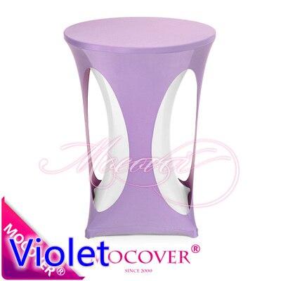 violet lilas couleur spandex couverture de table de cocktail avec trou lycra table tissu pour le mariage banquet partie haute table de bar decoration