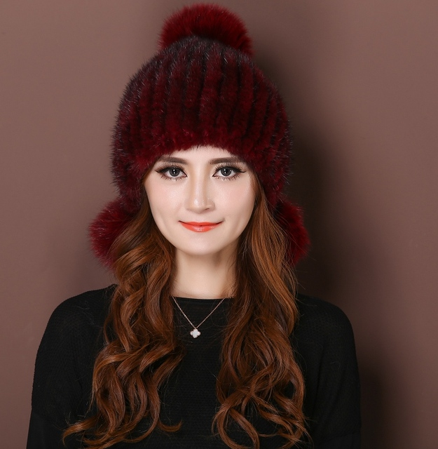2016 Limited Solid Adult Dl-10333 Real Knitted Mink Fur Hats For Women Winter Laciness Fashion Beanie Hat Cap The High Quality