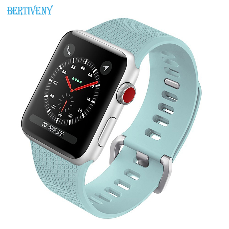 Silicone Sports Band For Apple Watch 38mm 42mm Accessory Wristband Replacement link Bracelet for iwatch Strap Series3 2 1
