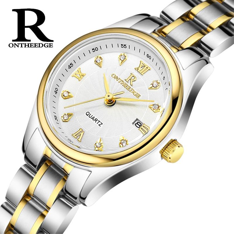 Modes dāmu biznesa pulksteņi nerūsējošā tērauda ūdensnecaurlaidīgs kvarcs Sieviešu pulksteņi Diamond kalendārs sieviešu pulksteņi ONTHEEDGE