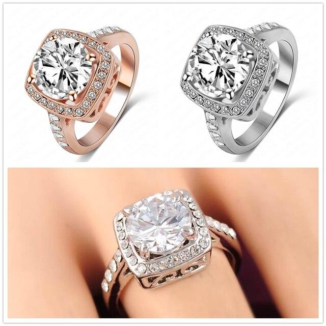 Anillos de moda para mujeres 2015 gran promoción verdadero 18 K oro rosa    plateado platino 89942d1fa2