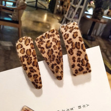 Korean Leopard Hairpin BB Clip Ins Women Girls Tiara Plush Hairpins Hair clip bangs Barrettes Accessories