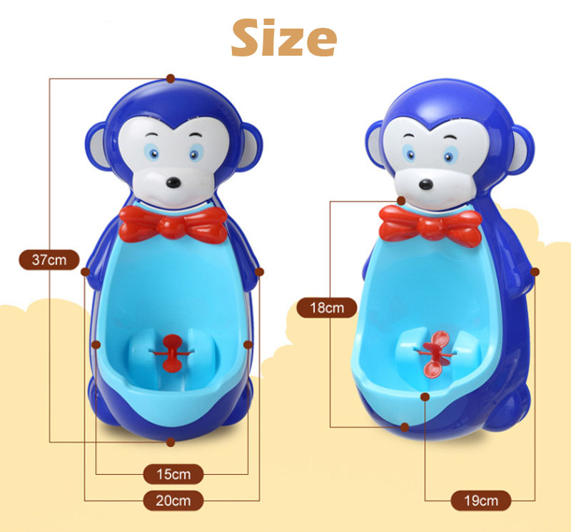 Portable Baby Toilet Kids Urinal Cartoon Monkey Stand Vertical Toilet Potty Training WC Children Wall Hanging Urinal Pee image
