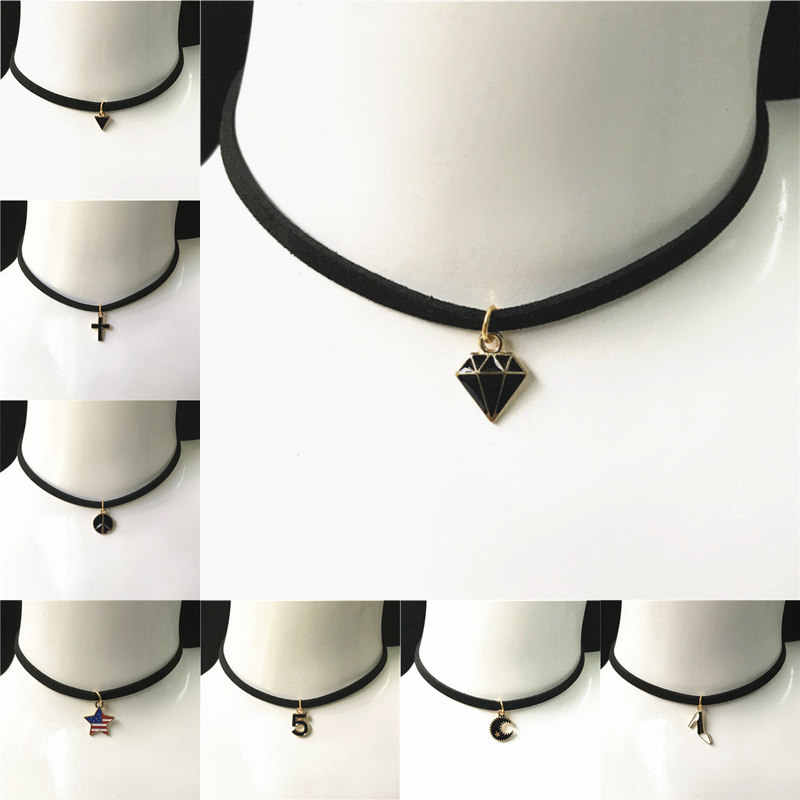 New Leather Necklace Short Gothic Cross Star Moon Triangle Necklace Tattoo Collares For Women Velvet Jewelry Clavicle Choker