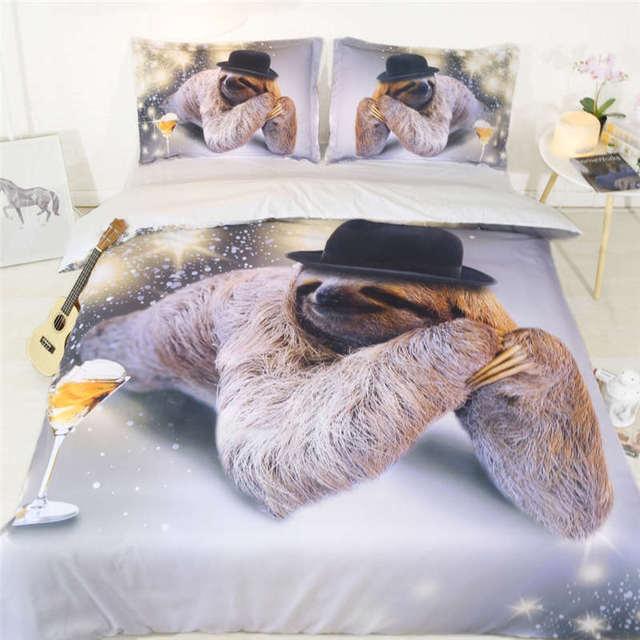 Sliver Sloth Bedding Set 3d Queen Size Animal Comforter Duvet Cover