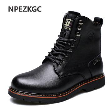NPEZKGC jesień mężczyźni oryginalne skórzane buty zimowe ciepłe futro robocze buty góry buty Vintage wysokiej jakości mężczyźni kostki buty tanie i dobre opinie Dorosłych Zima Buty motocyklowe Pasuje do rozmiaru Weź swój normalny rozmiar Skóra naturalna BB043 Tkanina bawełniana