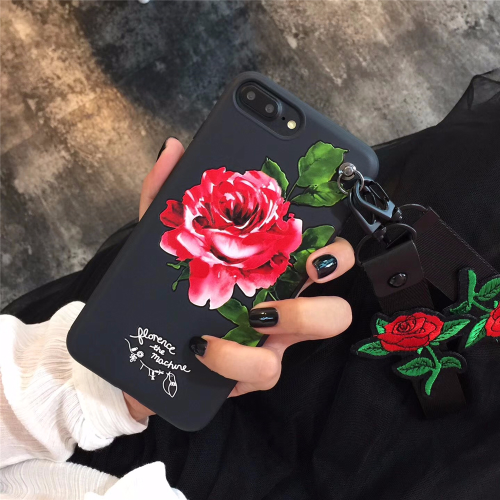 Q UNCLE Korean 3D Red Rose Wrist Neck Strap Case for iPhone