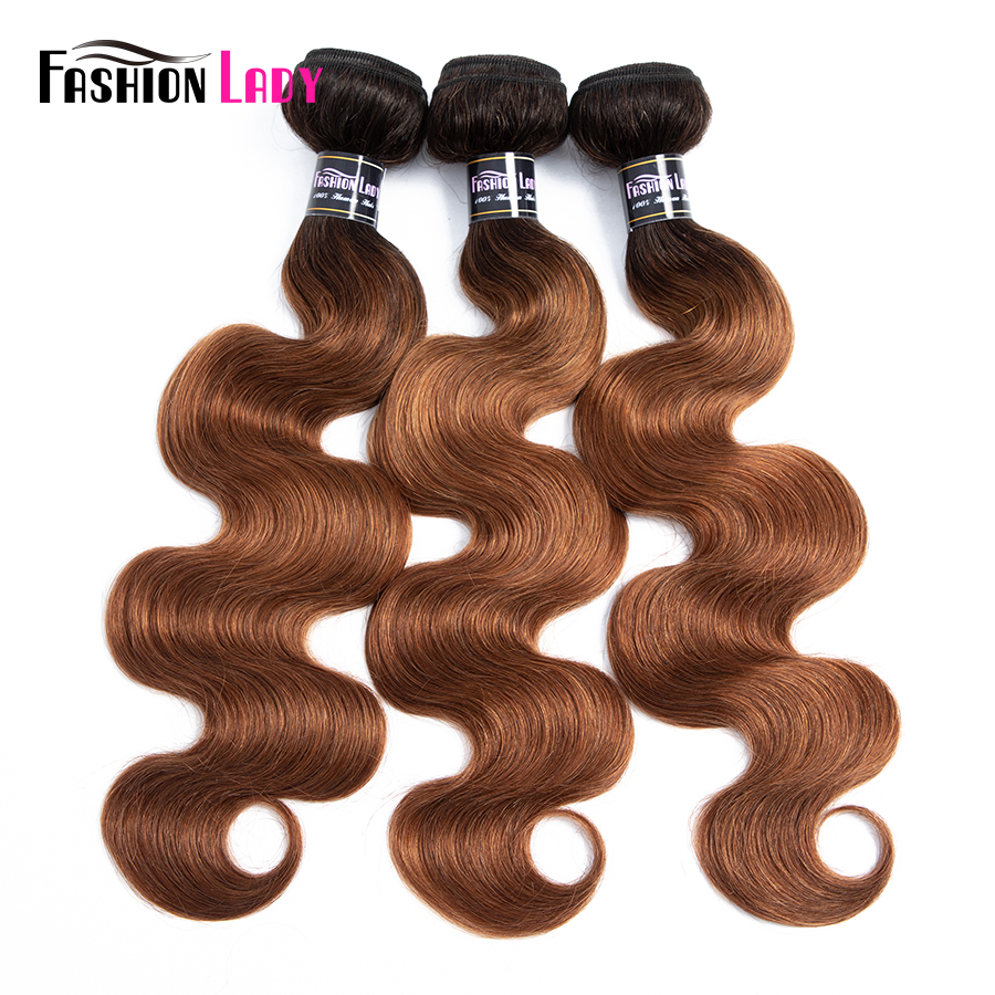 Fashion Lady Pre-Colored 1B/30 Ombre Brazilian Body Wave Hair 3 Pieces 100% Human Hair Weave Bundles Non-remy Hair Extensions