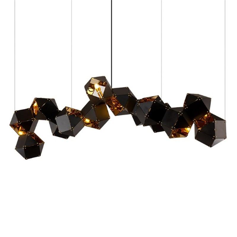 Post Modern Molecule Pendant Chandelier Black Metal box Creative Lamp Fixture for Restaurant Studio Bar Dining Room Living Room цена