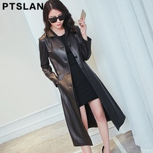 Ptslan Real Leather Jacket Women Spring  Slim Genuine Outerwear Long Women Leather Trench Coat Female