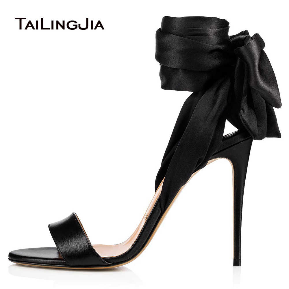 bd2b3088488e Sexy High Heel Black Satin Sandals Wrapped Dress Shoes Women Ankle Scarf Stiletto  Heels Ladies Summer