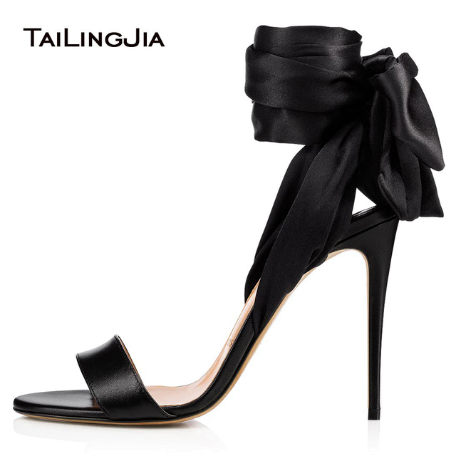 3f70ca02aa7a Sexy High Heel Black Satin Sandals Wrapped Dress Shoes Women Ankle Scarf  Stiletto Heels Ladies Summer Shoes Large Size 2018