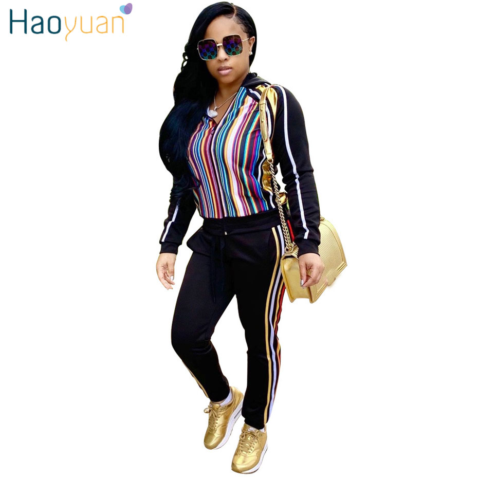 d5f5f48feea7 HAOYUAN Plus Size Women Tracksuit Two Piece Set Casual Outfits Clothes  Zipper Top and Pant Suit
