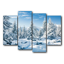 Laeacco Abstract 4 Panel Pine Wall Art Winter Posters and Prints Living Room Nordic Home Decor Vintage Canvas Painting
