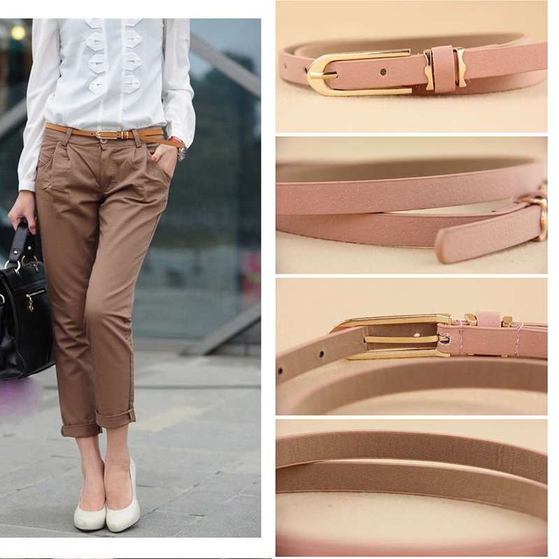 New Multi-color Lady's Slender Thin Belt Ceinture Feminion Pigskin Metallic Buckle Women Female Waist Belt Free Shipping