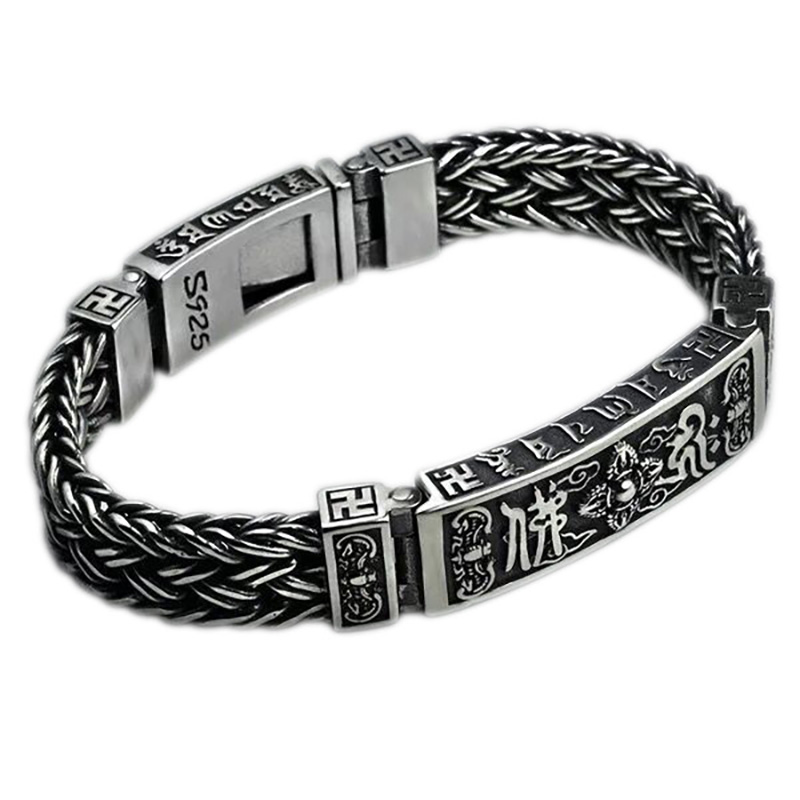 Heavy 925 Sterling Silver Tibetan Mantra Bracelets For Men Braided Woven Six Words Vajry Pestle Engraved Prayer Buddha Jewelry