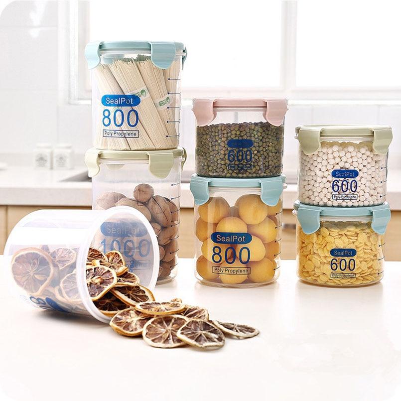 600/800/1000 мл печать Пот Ясно Пластик холодильник четкими Весы показать свежий контейнер цельного зерна Сухофрукты Мушмула конфеты банку