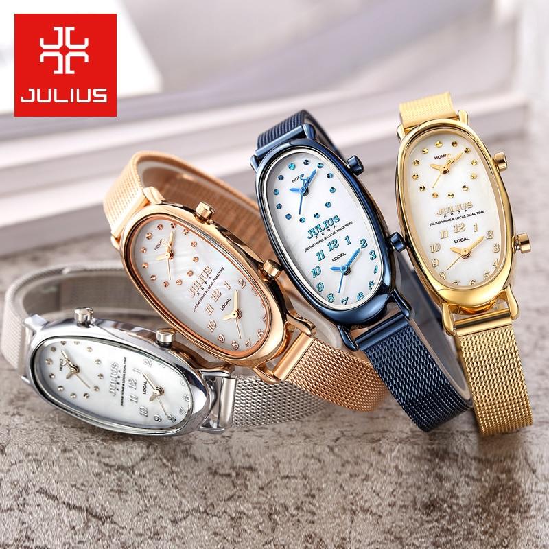 Double Time Zone Shell Gemini Women s Watch Japan Quartz Woman Hours Fine Fashion Dress Bracelet
