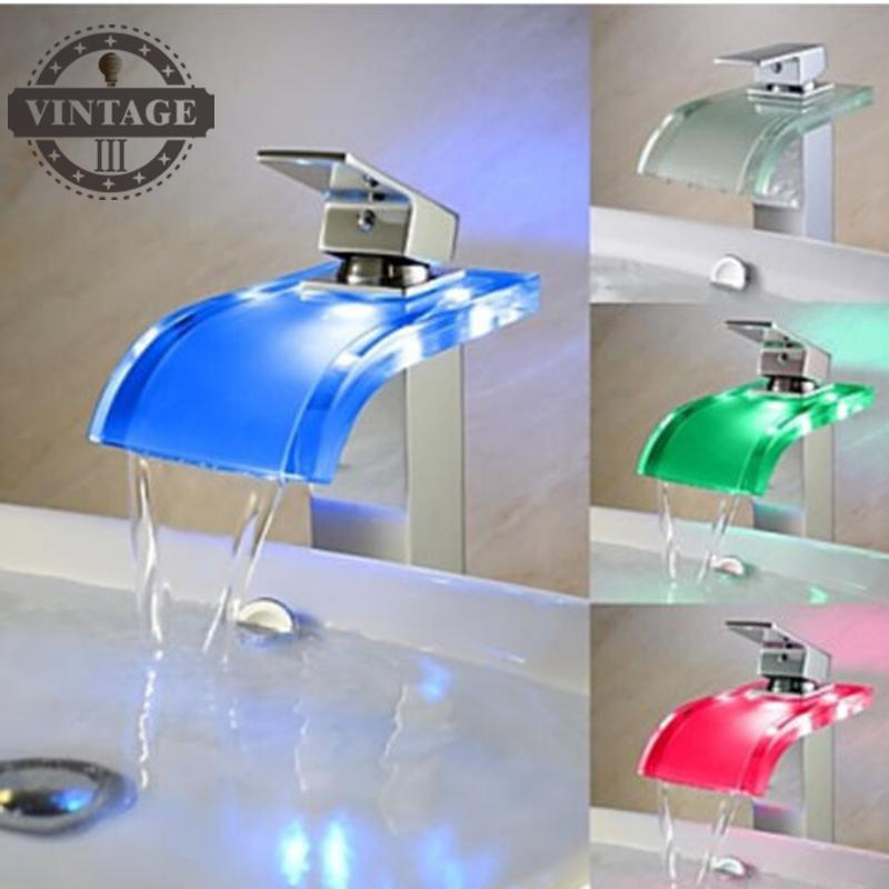 Free shipping temperature controlled led basin faucet bathroom glass spout waterfall vessel sink cold and hot water tap mixer