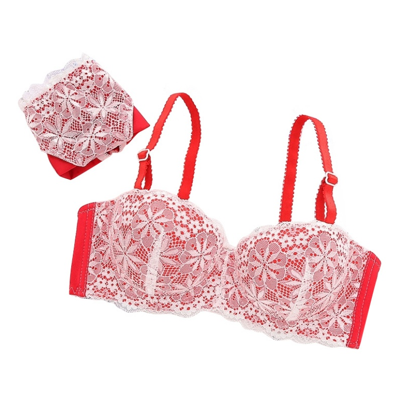 Hot Underwear Set Thin Female Small Push Up Cup Tube Top Comfortable Lace Sexy Bra Set For Cup B