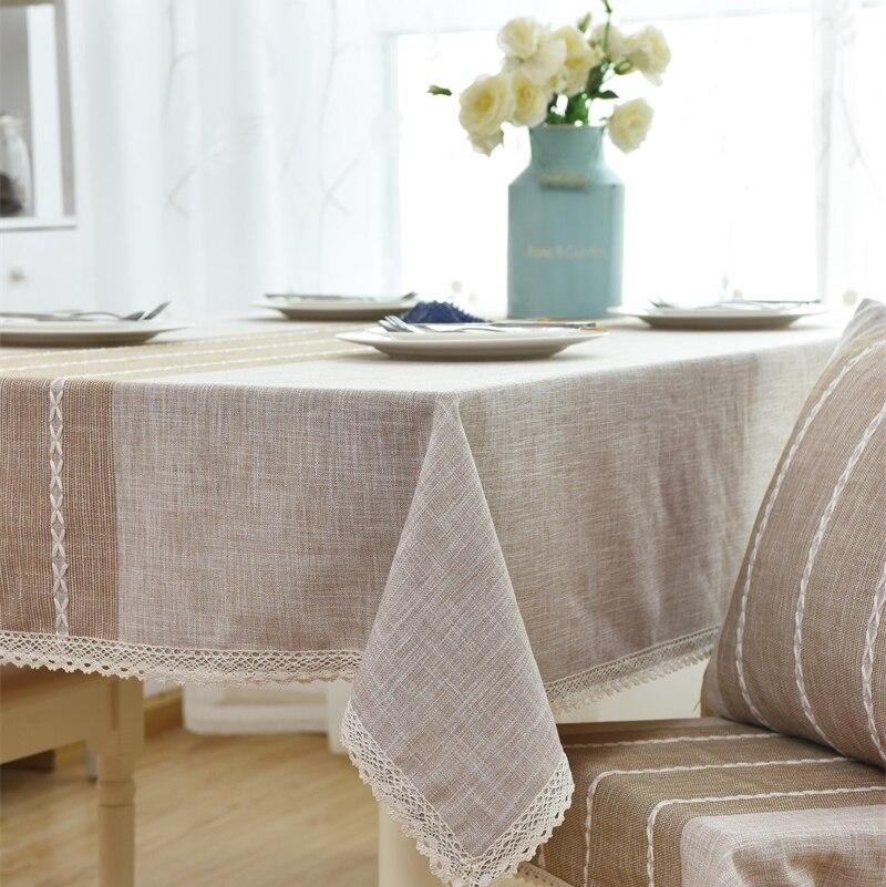 Японский сплошной цвет В Полоску Хлопок и лен скатерть современный простой стол скатертью