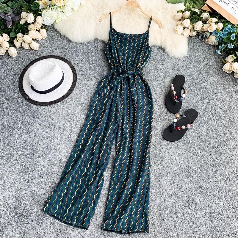 Bohemian V Neck Summer Spaghetti Strap Geometric Print Full Length Bandage Jumpsuit Chiffon Casual Women Beach Holiday Romper