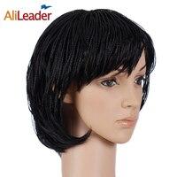 AliLeader Ürünleri Kadınlar Için 150% Yoğunluk Örgülü Kutusu Örgüler Peruk Bob Tarzı, sentetik Siyah Kısa Saç Peruk African