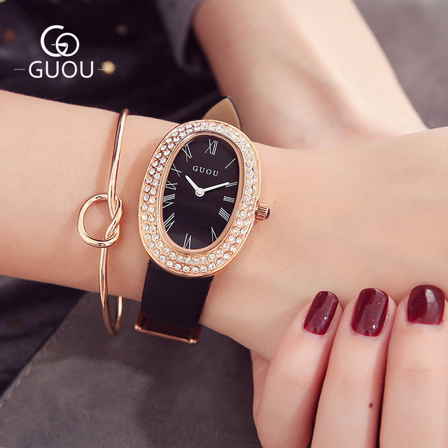 GUOU Brand Women's Crystal Wrist Watch Damenuhr Modern Accessories Fashion Women Quartz Watches Leather Belt Bayan Kol Saati   Fotoflaco.net