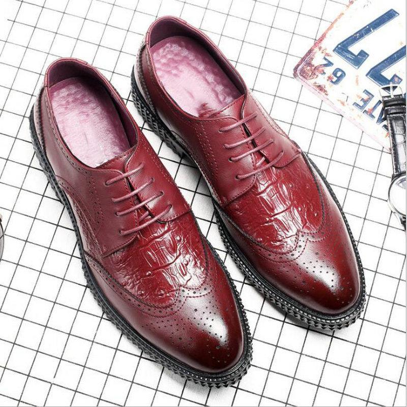 Модные кожаные мужские модельные туфли острый носок Баллок Туфли-оксфорды, роскошные дизайнерские Для мужчин свадебные Бизнес Обувь с перф...