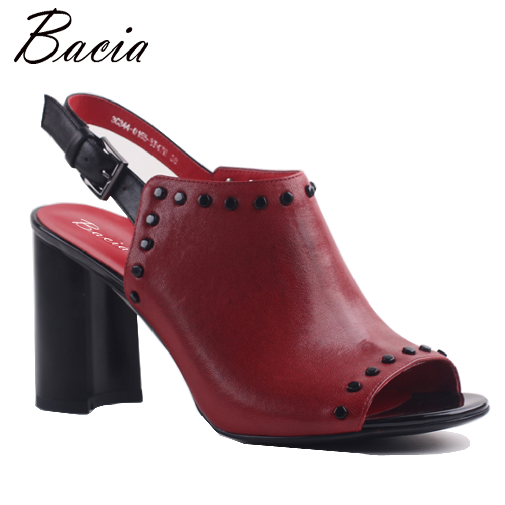 Bacia Women Genuine Leather Sandals Fashion Women Sandals Grils Women Shoes Sandalias Mujer Sandalias Thick Heel Shoes MXA001