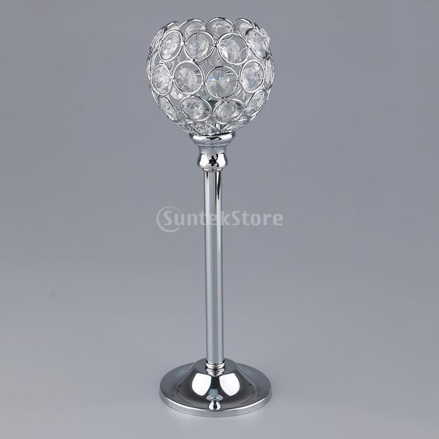 Crystal Metal Candle Holder Candlestick Wedding Holidays Christmas Events Tabletop Home Decor Ornament Tealight Candle Holders 5