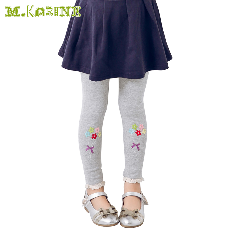 New Spring Girls Leggings Five Flowers Baby Kids Pants Rhinestone Lace Child Pantalon For 2-8Y Elastic Girls Skinny Trouser