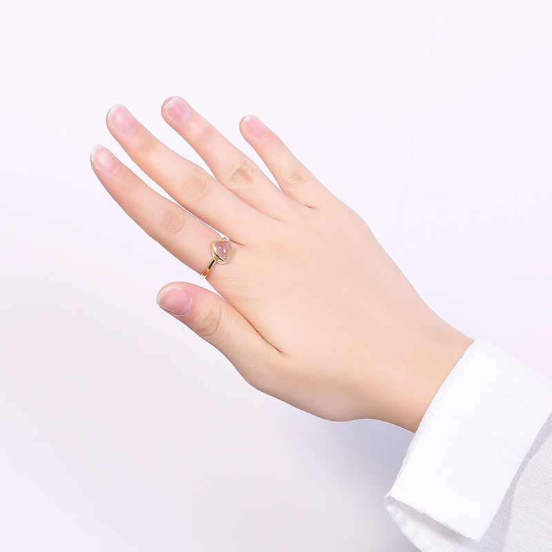 2018 Fashion Real S925 pure silver plated heart love natural strawberry ms crystal rings contracted character joker rings
